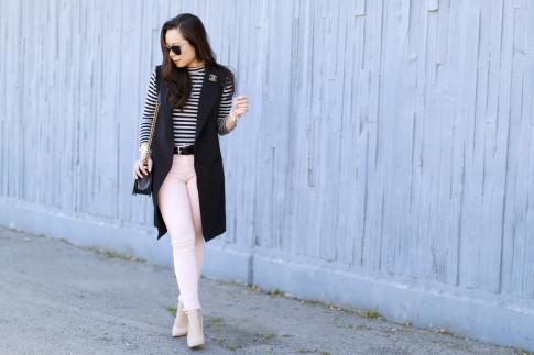 An Dyer wearing Long Vest Blazer Sleevelss Coat Chanel Brooch Stripe Shirt Pink Jeans nude pumps