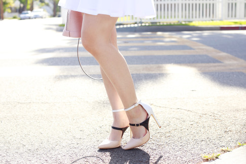 An Dyer wearing ShoeDazzle inspired by Jimmy Choo Sunday three strap pumps