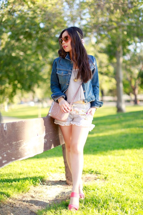 Coachella DSW Steve Madden Street Style with DRA Denim Jacket Shorts Gucci Soho Disco Gold Eagle Tattoo