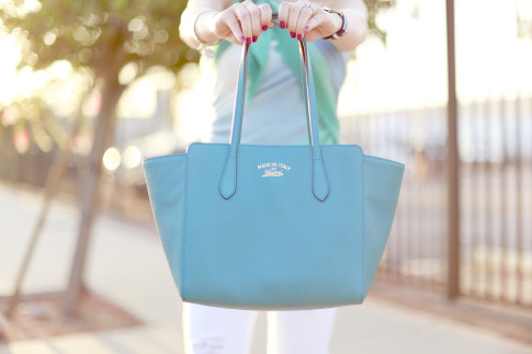 Gucci Swing Tote Medium Teal Turquoise