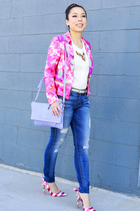 An Dyer wearing 7FAM jeans and gigi New York Carly Clutch Lavender