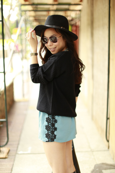 An Dyer wearing Delikate Rayne Shorts with black fedora panama hat