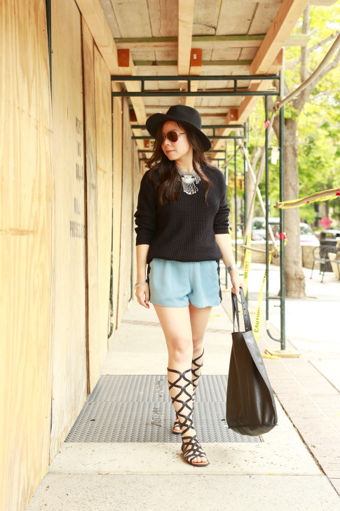 An Dyer wearing Gentlesouls Gladiator Sandals, Delikate Rayne Shorts with black fedora panama hat