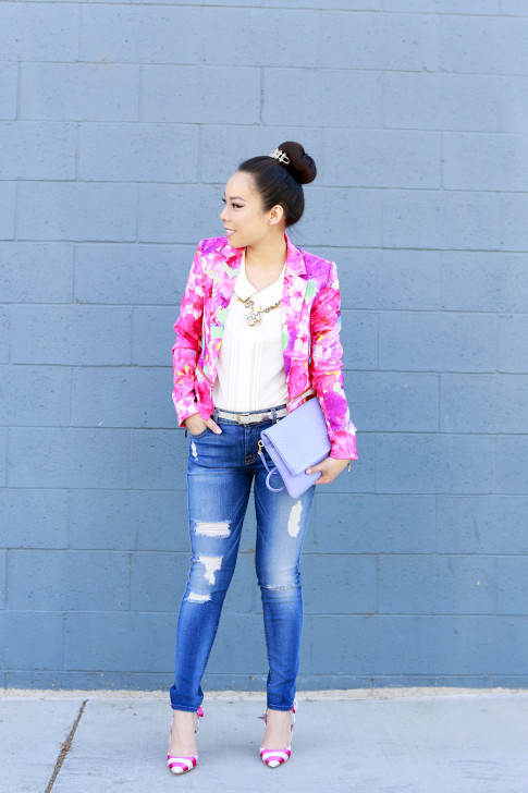 An Dyer wearing Honey & Beau Eternal Blossom Jacket modcloth blouse 7fam jeans shoedazzle nena pumps and gigi carly clutch