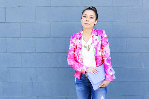 An Dyer wearing Honey & Beau Eternal Blossom Jacket with Juliet & co necklace and gigi New York Carly Clutch Lavender