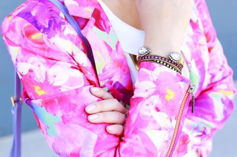 An Dyer wearing Honey & Beau Eternal Blossom Jacket with Loren Hope Bracelets
