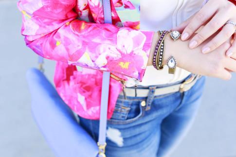 An Dyer wearing Honey & Beau Eternal Blossom Jacket with Loren Hope Cuff Bracelets