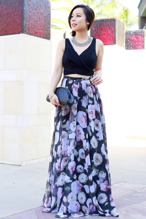 An Dyer wearing Juliet Co Necklace with Fame and Partners Rose Floral Two Piece with Chanel Kisslock Caviar SHW Clutch