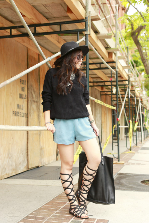 An Dyer wearing Kenneth Cole Gentlesouls Gladiator Sandals, Delikate Rayne Shorts with black fedora panama hat, madewell tote