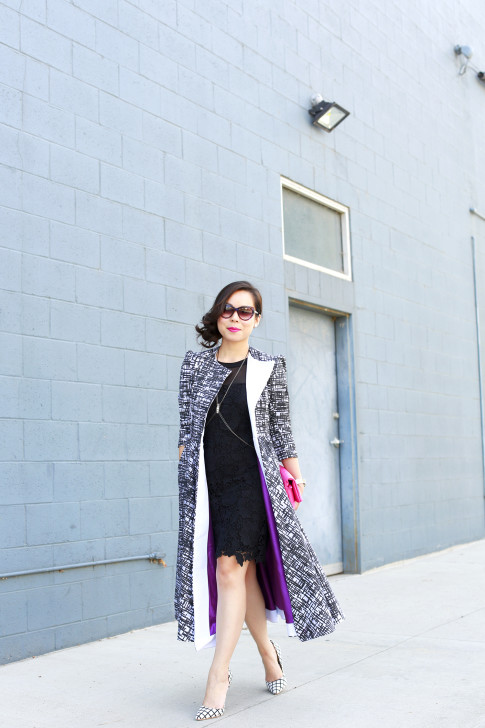 An Dyer wearing Kut from the Kloth Lace Dress, Chanel Pink QUilted Clutch, Bulgari Sunglasses with Doku COAT, and JustFab Windowpane Pumps
