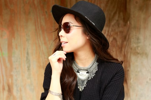 An Dyer wearing MADE Eyewear Bronson Aviator Sunglasses with Dylanlex inspired Necklace with Fedora