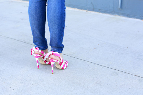 An Dyer wearing ShoeDazzle Nina slingback pink stripe bow pumps