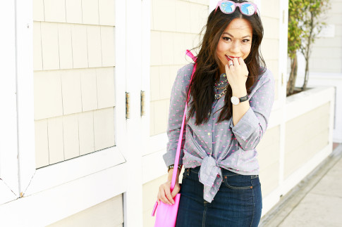 An Dyer wearing Splendid Shoreside Dot Shirt, Schaffer LA Pink Mini Bucket Bag