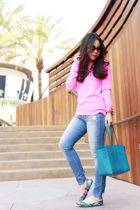An Dyer wearing White Warren Hot Pink Cashmere Sweater with Hart Denim jeans, Gucci Swing Tote and Electric Snake Tieks