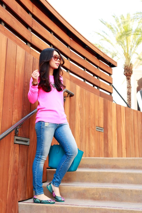 An Dyer wearing White Warren Hot Pink Cashmere Sweater with Hart Denim jeans and Tieks
