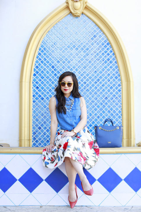 An Dyer wearing Denim Tie Knot Shirt with Modclotch Floral Midi Skirt