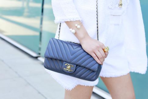 An Dyer wearing Double Pearl Cuff with Chanel Chevron Flap Dark Grey Lambskin