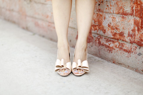 ASOS Bow Pumps Nude Satin