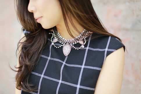 An Dyer wearing Cocoa Jewelry Blush Stone Statement Neckalce
