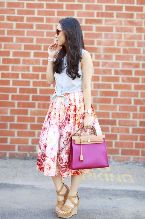 An Dyer wearing Hermes Herbag Pink Rose Forever 21 Sleeveless Denim Tie Knot Top with ChicWish Pink Ombre Floral Midi Skirt Ugg Dillion