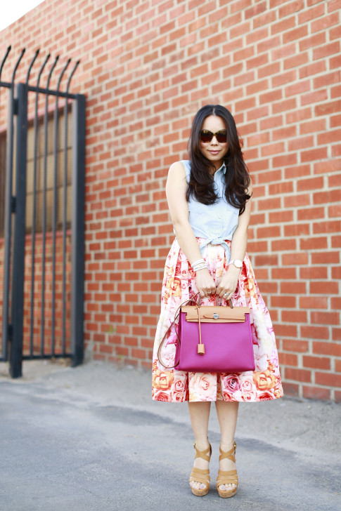An Dyer wearing Hermes Herbag Rose Pivoine Forever 21 Sleeveless Denim Tie Knot Top with ChicWish Pink Ombre Floral Midi Skirt Ugg Dillion