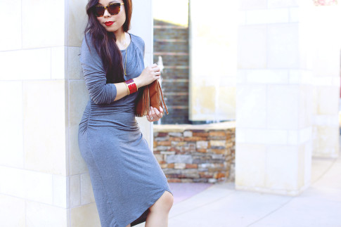 An Dyer wearing JustFab Grey Ruched Dress, Cowboy boots