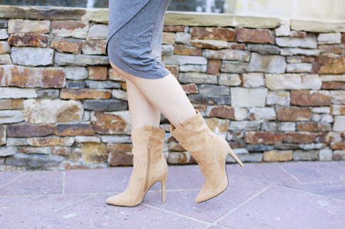 An Dyer wearing JustFab Nude Suede Cowgirl Heel Boots