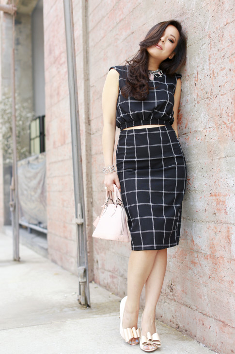 An Dyer wearing Line & Dot Windowpane Crop Top Midi Skirt, ASOS Nude Bow Pumps