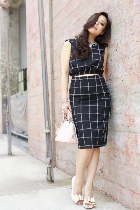 An Dyer wearing Line & Dot Windowpane Crop Top Midi Skirt, ASOS Nude Bow Pumps