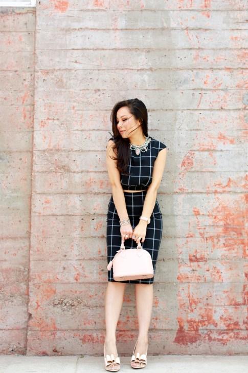 An Dyer wearing Louis Vuitton Alma BB Magnolia, Line & Dot Bisous Crop Top Midi Skirt, ASOS Nude Bow Pumps