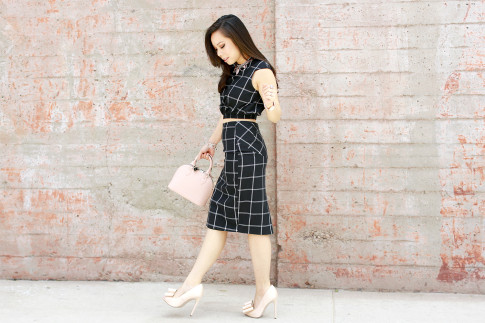 An Dyer wearing Louis Vuitton Alma BB with Line & Dot Bisous Crop Top Midi Skirt, ASOS Nude Bow Pumps