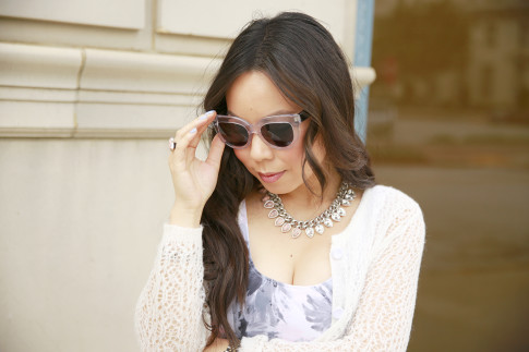 An Dyer wearing Vint & York Sunglasses clear cat eye