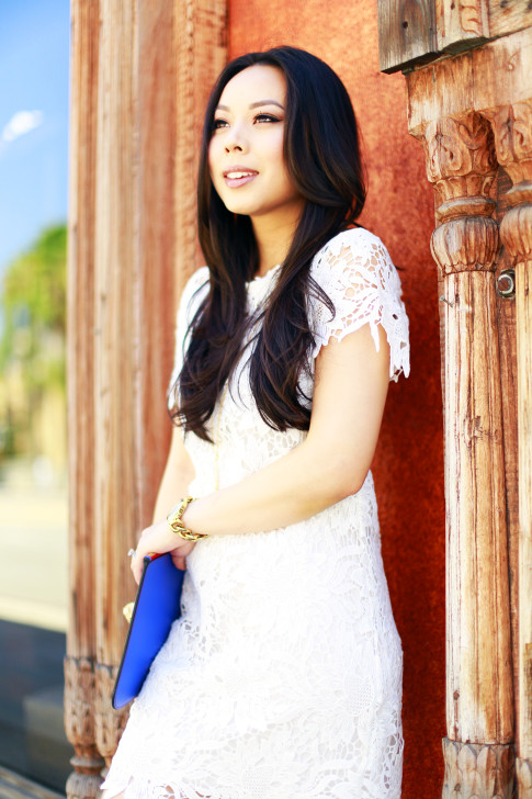 An Dyer wearing ChicWish White Lace Crochet Shift Dress