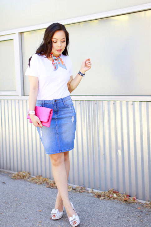 An Dyer wearing Hermes Twilly Neck Tie, Chanel Hot Pink Clutch, Denim Pencil Skirt, Palter Delisio Bow Pumps