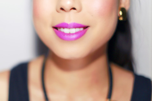 An Dyer wearing Ulta Bold Fuschia Purple Matte Lips Too Faced Melted Longwear Liquid Lipstick Violet