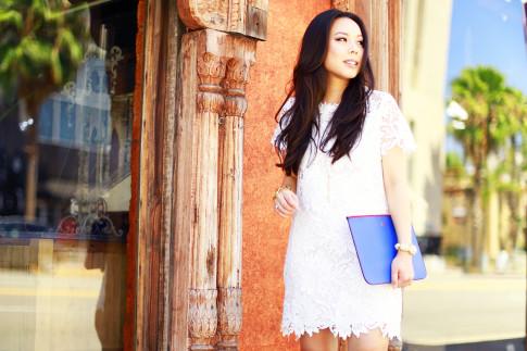 An Dyer wearing White Lace Crochet Shift Dress