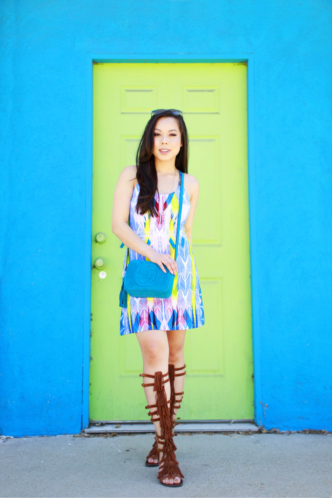 Blogger wearing Gucci Soho Disco Teal Suede, Tart Collections Harper Dress with Steve Madden VILLANO Fringe Gladiator Sandals