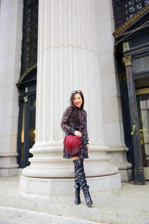 An Dyer NYFW SS16 Street Style Thigh High Boots High Neck Floral Dress