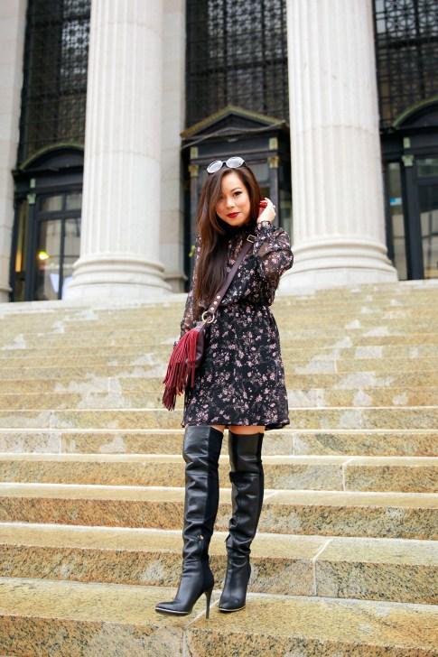 An Dyer NYFW SS16 Street Style Thigh High OTK Boots High Neck Floral Dress