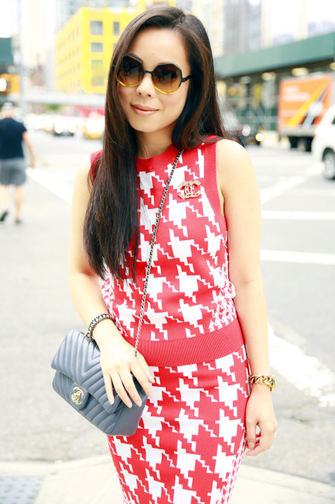 An Dyer NYFW StreetStyle Chanel Brooch Chevron Flap, Vassallo Houndstooth Komono Octogon Sunglasses