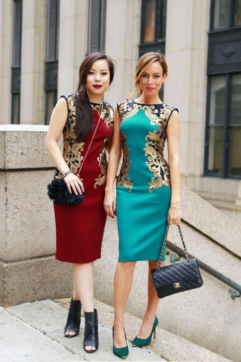 An Dyer Sydne Summer wearing Tadashi Shoji SS16 Street Style NYFW Day 1