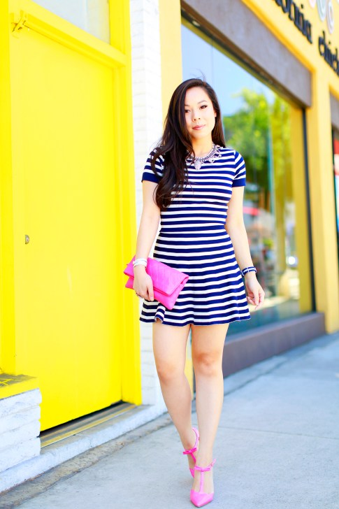 An Dyer wearing Lucy Paris Navy Striped Skirt Set