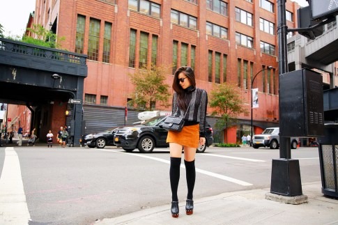 An Dyer NYFW Street Style SS16 Chelsea Suede Skirt Chanel Chevron Flap Neck Tie
