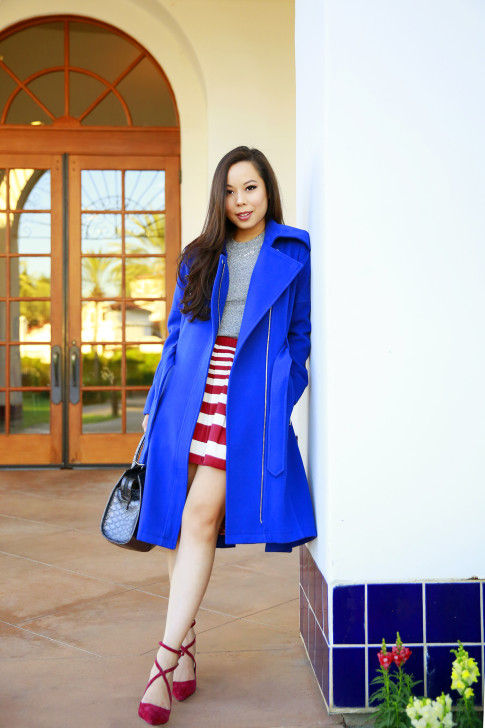 An Dyer for BCBGeneration Blue Coat Red Cranberry Stripe Skirt