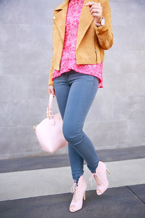An Dyer wearing Forever 21 Camel Suede Moto Jacket with Tadashi BCA Pink Lace Top and Grey Joe's Jeans