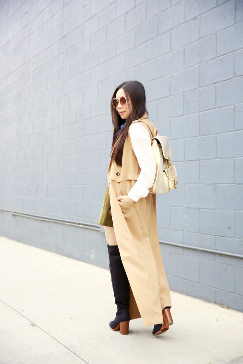An Dyer wearing Forever 21 Long Sleeveless Trench Duster, Harper Ave Mini Le Corb