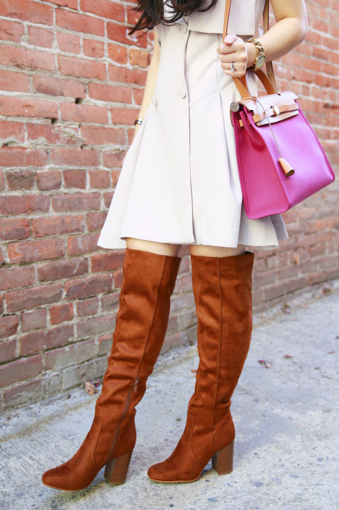 An Dyer wearing JustFab over the knee boots