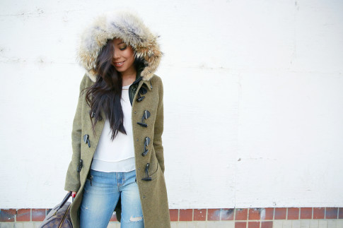 An Dyer wearing Bishop Young Tank, Dawn Levy Waverly Green Coat, Aeropostale Light Wash Flare Jeans