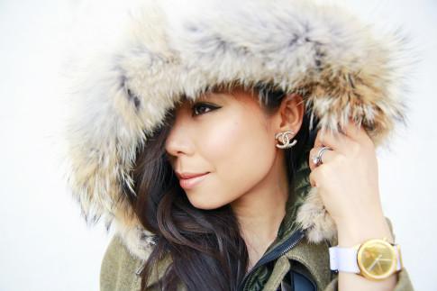An Dyer wearing Chanel clip-on earrings