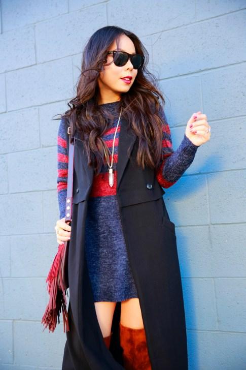 An Dyer wearing Forever 21 Black Duster Vest Coat JustFab Blue Red Striped Sweater Dress